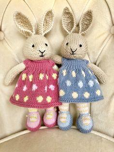 Little Cotton Rabbits Toys Patterns littl Owl Sewing Patterns, Easy Scarf Knitting Patterns, Knitted Doll Patterns, Animal Knitting Patterns, Knitted Dolls, Knitted Bunnies, Knitted Animals, Crochet Teddy, Crochet Toys