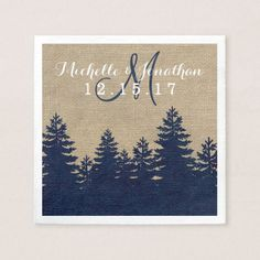 Rustic Burlap Pine Trees Winter Wedding Napkin