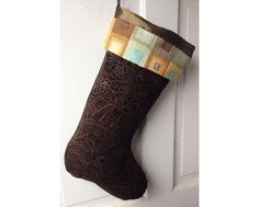 Handmade Large Christmas Stocking - Black with Gold and Geometric Cuff - Heirloom Holiday Decor by spongetta on Etsy https://www.etsy.com/listing/170222004/handmade-large-christmas-stocking-black