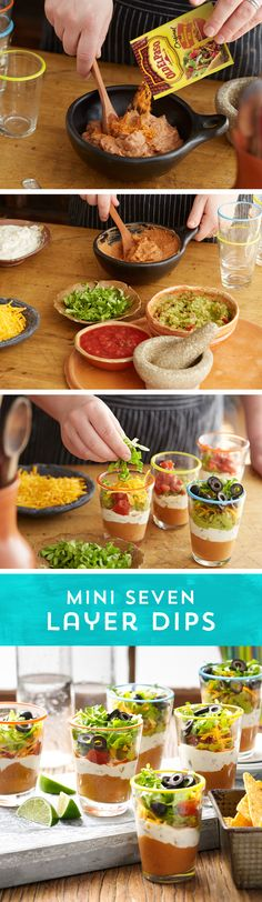 Ready for a new twist on a classic party dip? Try these Mini Seven Layer Dips at your next party! Combine Old El Paso™ Refried Beans and Taco Seasoning until well-blended, and distribute evenly among mini cups. Mix sour cream with Old El Paso™ Green Chiles and layer on top of the bean mixtures. Alternate layers of guacamole and salsa, then top with lettuce, shredded cheese and olive slices. Mini cups guarantee everyone at the game day party gets all the tasty dip layers they love!