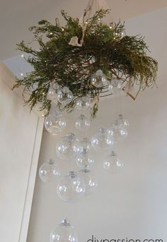 DIY Clear Ornament Hanging Chandelier - This was a pain in the ass to make, but it looks pretty cool when finished. Clear Ornaments, Glass Christmas Ornaments, Hanging Ornaments, Ball Ornaments, Ornament Wreath, Handmade Christmas Decorations, Xmas Decorations, Holiday Crafts, Holiday Decorating