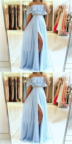 A-Line Off the Shoulder Split Front Blue Chiffon Prom Dress with Beading Belt so. - - A-Line Off the Shoulder Split Front Blue Chiffon Prom Dress with Beading Belt sold by Fantasy on Storenvy Source by Cute Prom Dresses, Ball Dresses, Elegant Dresses, Pretty Dresses, Beautiful Dresses, Sexy Dresses, Wedding Dresses, Chiffon Prom Dresses, Ball Gowns
