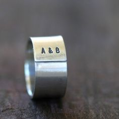 Sterling Silver Personalised Initials Mens Ring