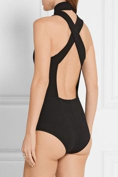 Black stretch-jersey Concealed hook fastenings along back, snap fastenings at…