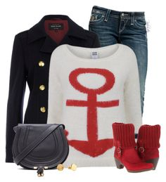 """Red Boots"" by pinkroseten ❤ liked on Polyvore featuring Rock Revival, River Island, Vero Moda, El Naturalista, Chloé and Gorjana"