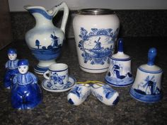 Vintage 10 Piece Delft Blue Holland Collection Pitcher Vase Shoes Bells Figures