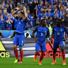 Olivier Giroud of France clicked after scoring a goal against Iceland during UEFA Euro Cup 2016 quarterfinal match. France beat Iceland with 5-2 to reach semi-finals.on 03/07/2016.