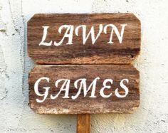 Lawn Games Sign, Lawn Games Wedding, Yard Games, Rustic Wooden Signs, Outdoor Wedding Signs, Custom Wood Signs, Rustic Wedding Signs