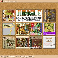 Jungle-themed digiscrap Design Challenge #17 Kit - available at MouseScrappers for only $3!