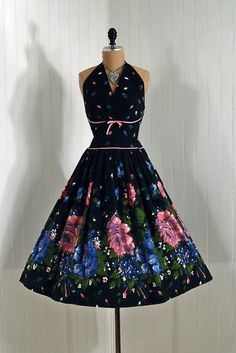 1950's Vintage Shelf-Bust Bow Halter Elegant Rose-Garden, Watercolor Floral Cotton, Cocktail Sun Dress