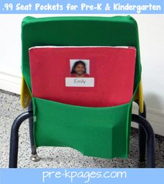 Easy DIY (no-sew) 99 cent seat pockets for #preschool and #kindergarten via www.pre-kpages.com