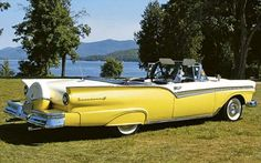 1957 Ford Fairlane Sunliner. With fender skirts and a Continental Kit. Love it or hate it, compared to today's automobiles, it's got style to burn