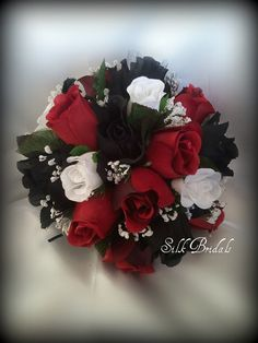 Black White Red ROSES Bridal BOUQUET Bridesmaid by SilkBridals