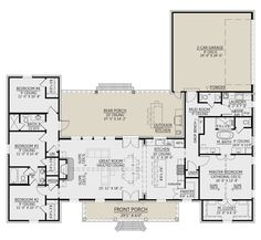 Floor Plan 4 Bedroom, 4 Bedroom House Plans, Family House Plans, Best House Plans, Dream House Plans, Dream Houses, 2 Living Room Floor Plans, Master Suite Floor Plan, Square House Plans