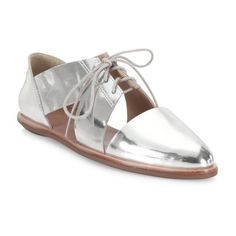 Loeffler Randall Willa Cutout Metallic Leather Oxfords (3.955 ARS) ❤ liked on Polyvore featuring shoes, oxfords, flats, silver, cut out flats, cutout flats, cut-out oxfords, leather shoes and metallic shoes