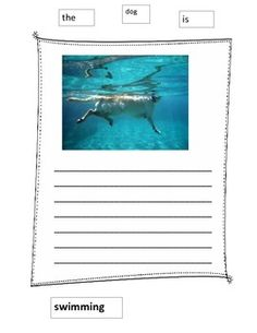"""Students are given a """"paper word wall"""" surrounding their ocean visual picture.  The words make the first sentence and then students are to write 3-4 more related sentences."""