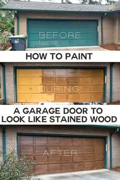 Making Over My Garage Door in 2 Days How to paint a previously painted or steel garage door to look like woodgrain stained wood. Step-by-step garage door painting ideas and photo tutorial. Garage Door Paint, Wood Garage Doors, Garage Door Makeover, Exterior Makeover, Faux Wood Garage Door Diy, Garage Door Trim, Garage Door Colors, Painting Garage Doors, Garage Door Update