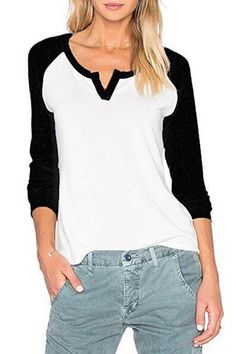 Sarin Mathews Women's Casual V Neck Loose Fit Long Sleeve. Sarin Mathews Women's Casual V Neck Loose Fit Long Sleeve. Casual T Shirts, Casual Outfits, Women's Casual, Mode Top, Shirt Bluse, Winter Fashion Casual, T Shirts For Women, Clothes For Women, Trending Outfits