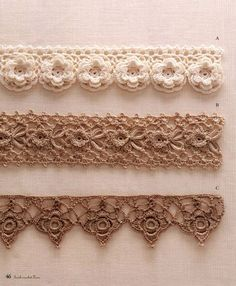 ergahandmade: Crochet Edgings + Diagrams - no instructions but the chart is included - would have to work through it but that top floral border would be nice for trimming a shawl or scarf.