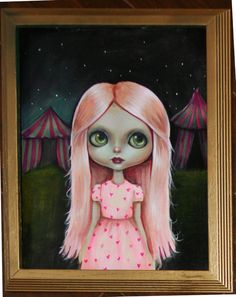 BLYTHE DOLL ACRYLIC ORIGINAL PAINTING ART CIRCUS LOWBROW gothic PINK #steampunklowbrow