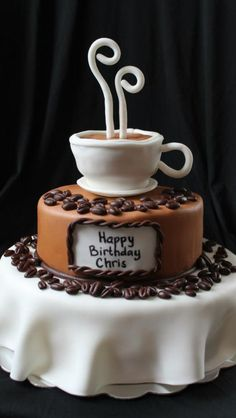 Coffee themed cake  Renee's WICKED Good Cakes  Like us on facebook!