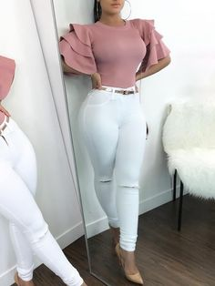 Shop Roundneck Ruffle Sleeve Blouses Casual Tops right now, get great deals at divaslily Classy Outfits, Sexy Outfits, Stylish Outfits, Beautiful Outfits, Girl Outfits, Summer Outfits, Mode Style, Ladies Dress Design, Casual Tops