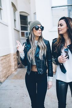 Crop top and leather jacket for a perfect summer night out