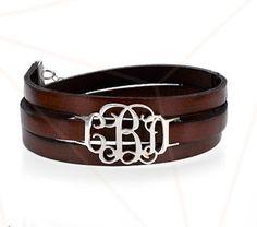 Leather+Wrap+Monogrammed+Bracelet+by+ShopCarolinaBliss+on+Etsy,+$40.00