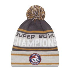 Men s Denver Broncos New Era Graphite Gray Super Bowl 50 Champions Cuffed  Knit Hat with Pom 41374da72ebf