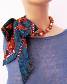 African wax print fabric with recycled glass beads orange