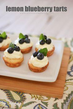 Lemon Blueberry Tarts with Mint - the perfect summer make-ahead dessert!