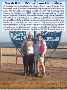 Sarah and Ron Wilder from Hampshire - South West Coast Path Completers. South West Coast Path, South Haven, Hampshire, Cornwall, Paths, Coastal, Walking, How To Plan, Day