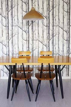 dining room - cole and son woods wallpaper - Available @ Maryland Paint & Decorating Birch Tree Wallpaper, Wood Wallpaper, Scenic Wallpaper, Amazing Wallpaper, Forest Wallpaper, Dining Chairs, Dining Table, Dining Corner, Dining Room