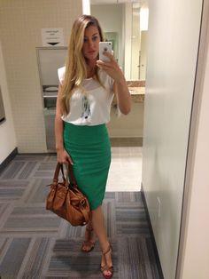 green pencil skirt, white blouse, brown heels