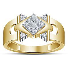 925 Silver 14K Yellow Gold Plated Rd White Sim Diamond Men's Spl Wedding Ring…