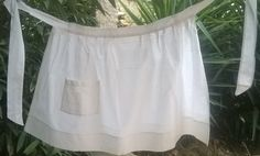 Vintage French Apron White Cotton chevron Damask made Front Pocket #sophieladydeparis