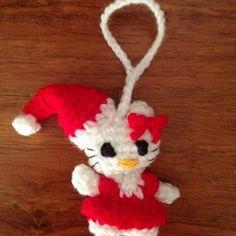 Christmas Hello Kitty ornament! #crochet #christmas #christmastree #ornament #crochetornament #christmasornament #hellokitty
