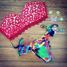 Red printed lace lace bikini