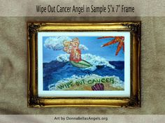 Wipe Out Cancer Surfing Angel Art Painting by DonnaBellasAngels