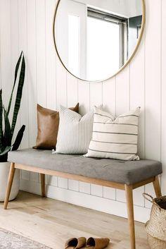 Modern Entryway, Entryway Decor, Entryway Bench, Neutral Pillows, Accent Pillows, Throw Pillows, Kirchen, Pillow Covers, Pillow Inserts