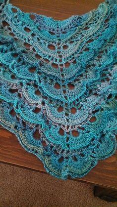 Ravelry: WendyBirdDesigns' Tidal Shawl - using Yes Yes shawl pattern by Bernat