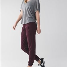 Lululemon sattva pant iii size 4 NWT. Beautiful maroon color, so soft and comfortable. Unfortunately I don't like the straight leg look on me or I'd keep them! lululemon athletica Pants Track Pants & Joggers