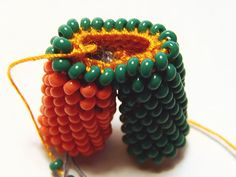 Photo tutorial showing another way to bifurcate (branch) a bead crochet rope.
