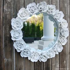 Make pretty Egg Carton Rose Mirror Decoration #crafts #homedecor #wonderfuldiy