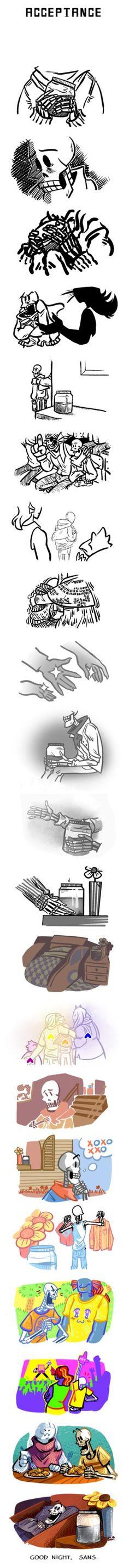 Acceptance (a zarla-inspired recovery comic) by JimPAVLICA on DeviantArt Undertale Memes, Undertale Fanart, Undertale Comic, Sans Puns, Flowey The Flower, Sad Comics, Toby Fox, Underswap, Indie Games