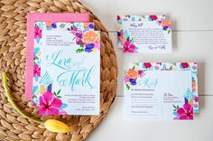 Hawaiian themed wedding invitations and stationery