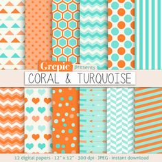 "Coral turquoise digital paper: ""CORAL & TURQUOISE"" with chevron, stripes, polkadots, honeycomb, hearts arrows, triangles in orange blue teal #patterns #texture"
