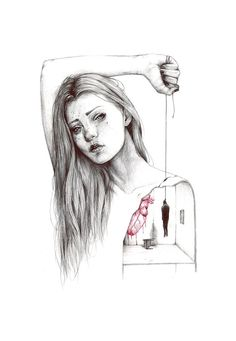 Find images and videos about art, sad and heart on We Heart It - the app to get lost in what you love. Drawings With Meaning, Sad Drawings, Dark Art Drawings, Amazing Drawings, Drawing Sketches, Amazing Art, Beautiful Drawings, Depression Art, Impressionism