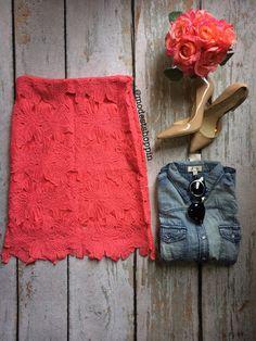 Crochet Floral Skirt   SexyModest Boutique #crochet #floral #denim #valentino #nudeheels #springfashion #modest
