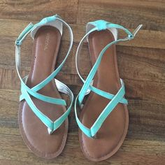 Green suede sandals with gold trim. Merona Seafoam sandals with gold trim. Super cute with dresses and shorts. Never worn!!! Merona Shoes Sandals